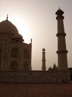 Taj Mahal against the sun